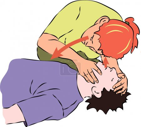 Illustration for First aid - listening for breath from unconscious man - Royalty Free Image