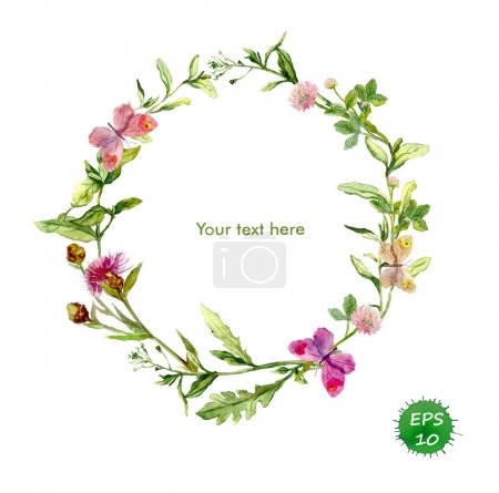 Wreath frame with meadow flowers and butterflies. Watercolor vector