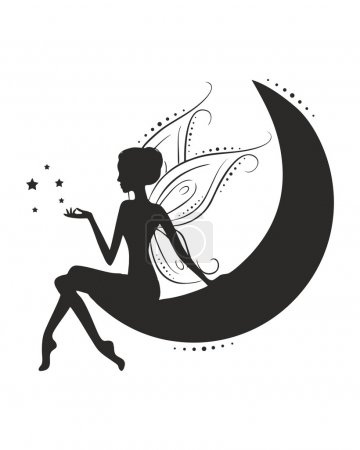 Moon fairy decal vector art