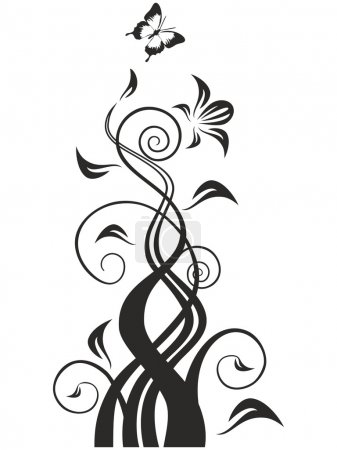 Swirls butterfly, great for wall decals or adition to graphic work.