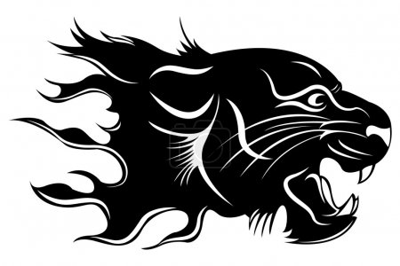 Tiger Head Tribal Flaming Vector