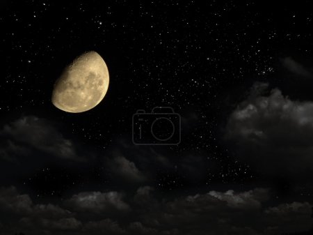 Photo pour Night sky with stars, and with a moon. Time of dreams. - image libre de droit
