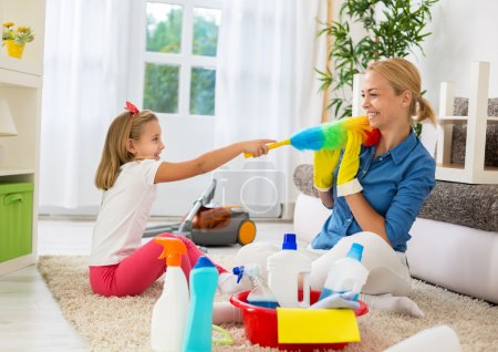 Family funny moments when cleaning home