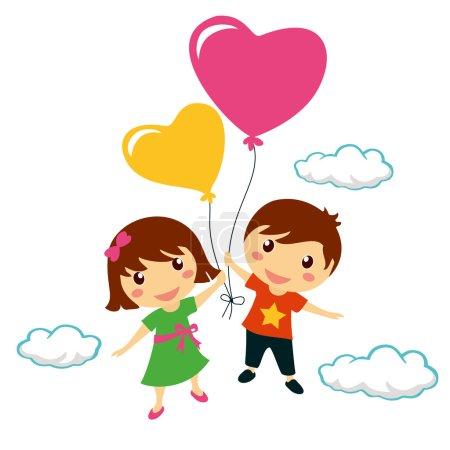 Illustration pour Drôle d'enfants souriants tenant des ballons cardiaques, Saint-Valentin - image libre de droit