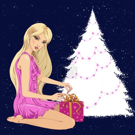 Illustration for Pretty woman near christmas tree unwrapping present. Holiday card illustration - Royalty Free Image