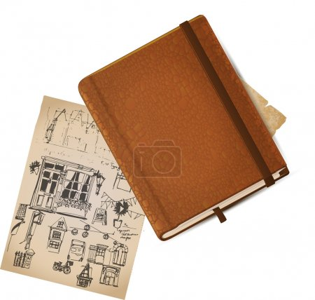 Leather note book with sketch