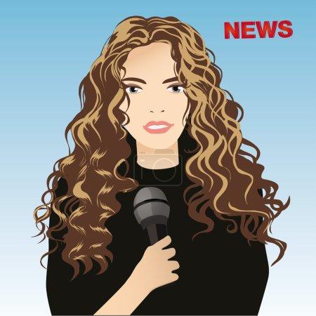 Illustration pour Illustration vectorielle du reporter féminin à l'écran - image libre de droit