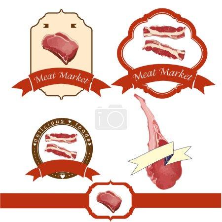 Meat logos set