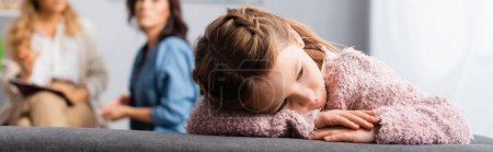 Photo for Daughter getting bored while mother talking to psychologist, banner - Royalty Free Image