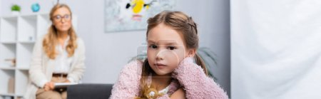 Photo for Little girl patient visiting psychologist, banner - Royalty Free Image