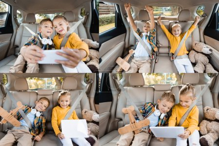 Photo for Collage of cheerful kids using devices near toys on back seat of car - Royalty Free Image