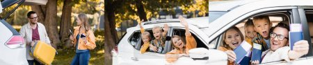Collage of family with kids waving hands and showing passports with tickets in car, banner