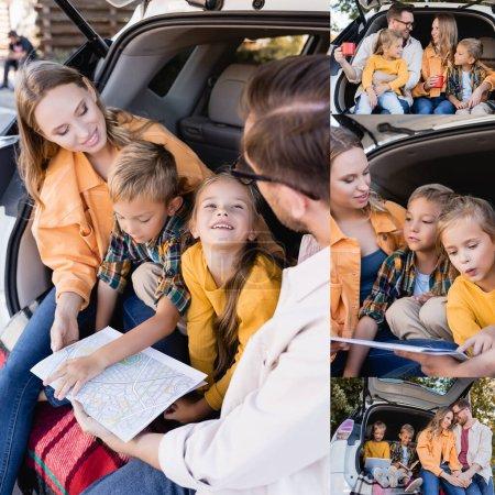Photo pour Collage de famille souriante tenant carte, tasses et tablette numérique dans le coffre de la voiture - image libre de droit