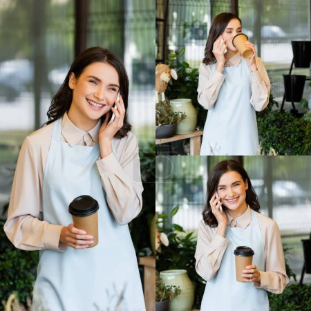 Photo for Collage of smiling florist holding coffee to go and talking on smartphone during brake - Royalty Free Image