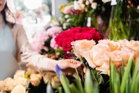 Photo pour Vue recadrée du fleuriste femelle touchant rose en magasin avec des fleurs floues sur le fond - image libre de droit