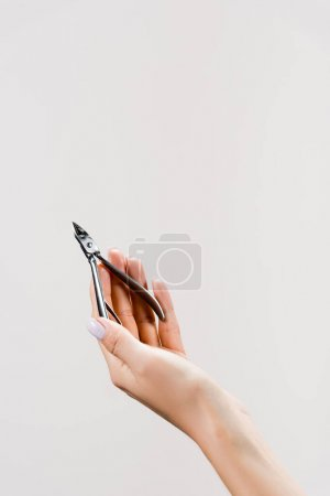 cropped view of woman holding cuticle nipper isolated on grey