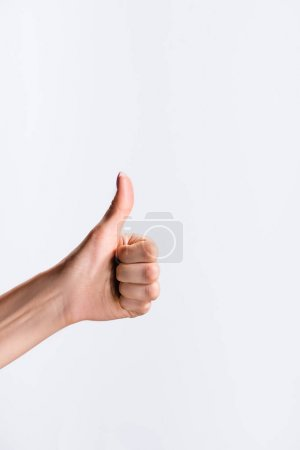 Photo for Cropped view of woman showing thumb up isolated on white - Royalty Free Image