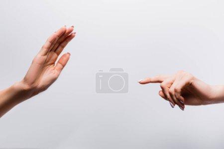 Photo pour Vue recadrée des mains féminines sur blanc - image libre de droit
