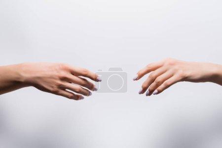 Ausgeschnittene Ansicht weiblicher Hände auf Weiß