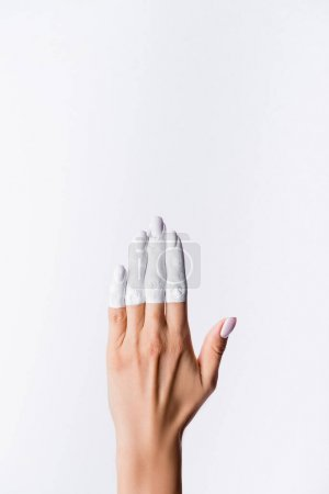Photo for Cropped view of hand with painted fingers isolated on white - Royalty Free Image