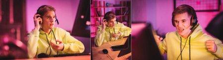 Photo pour Collage de gamer en colère et concentré regardant le moniteur d'ordinateur à la maison, bannière - image libre de droit