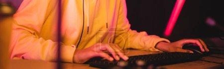 Vista recortada del jugador utilizando el teclado de la computadora y el ratón en primer plano borroso, bandera