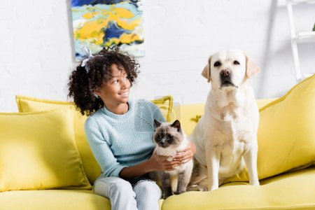 Photo for Cheerful girl with headband embracing siamese cat and looking at retriever sitting on yellow sofa, on blurred background - Royalty Free Image