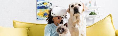 Chica americana africana rizada con la boca abierta con auriculares vr y sentado cerca de retriever y gato en el sofá en casa, pancarta