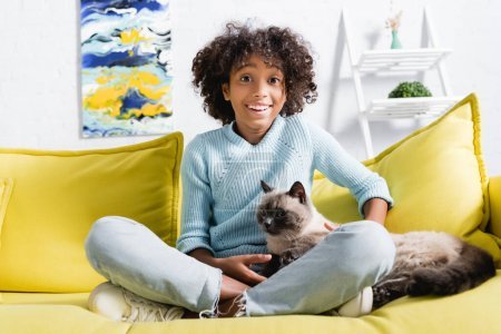 Photo for Happy african american girl with crossed legs looking at camera, while stroking cat on sofa on blurred background - Royalty Free Image