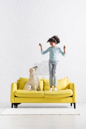 Photo for Happy african american girl with hands in air standing on sofa, while looking at labrador at home - Royalty Free Image