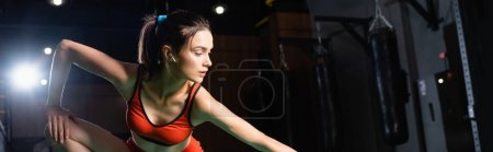young sportswoman with earphone stretching in gym, banner