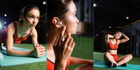 collage of sportswoman exercising in plank pose, stretching on fitness mat, and listening music in wireless earphone, banner