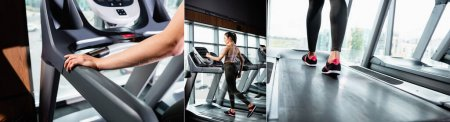 Photo for Collage of young sportswoman training on treadmill in sports center, banner - Royalty Free Image
