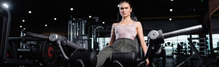sportive woman working out on leg extension machine, banner