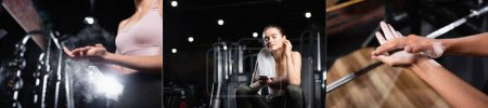 Photo for Collage of sportswoman applying talcum powder on hands near power rack, holding smartphone and listening music in earphone, banner - Royalty Free Image