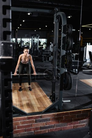 Photo for Athletic sportswoman training with power rack in sports center - Royalty Free Image