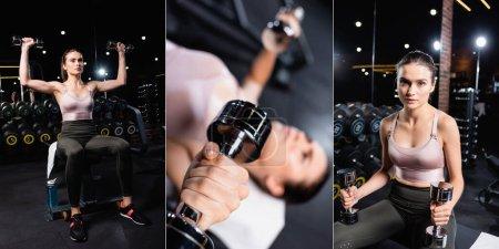 Foto de Collage de deportista haciendo ejercicio con mancuernas en el centro deportivo, pancarta - Imagen libre de derechos