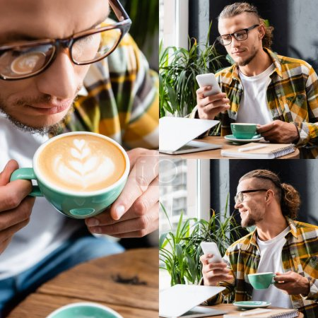 collage of young freelancer holding cup of coffee with latte art, smiling and chatting on smartphone near laptop