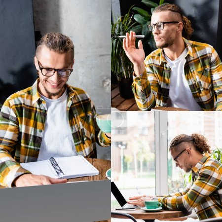 collage of stylish freelancer in eyeglasses and plaid shirt typing on laptop, holding pen, thinking and looking away in cafe
