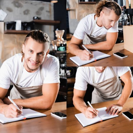 collage of young handsome barista writing in notebook near mobile phone with blank screen on bar counter