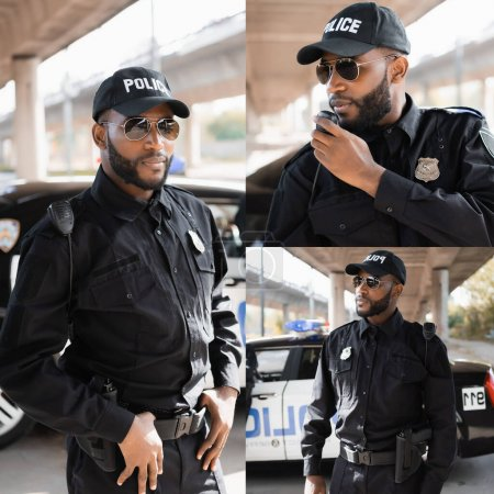 Collage eines afrikanisch-amerikanischen Polizisten, der in der Nähe eines Autos steht und auf unscharfem Hintergrund im Freien im Radio spricht