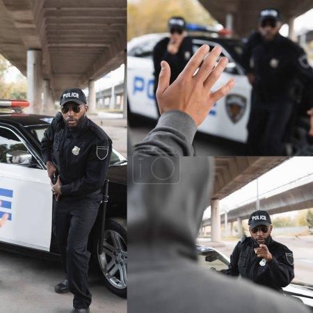 Photo pour Collage d'un policier afro-américain sortant une arme et pointant du doigt un délinquant à l'extérieur - image libre de droit