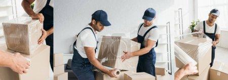 Photo pour Collage de déménageurs multiethniques dans une boîte d'emballage de salopette avec film étirable - image libre de droit