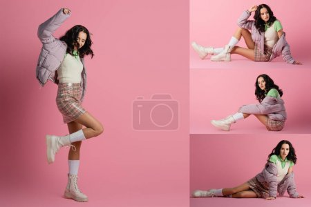 Photo for Collage of brunette young woman in stylish winter outfit posing on floor on pink background - Royalty Free Image