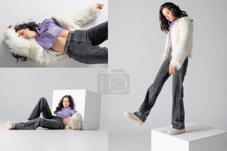 Photo pour Collage de jeune femme brune élégante en fausse fourrure élégante posant près du cube sur fond blanc - image libre de droit