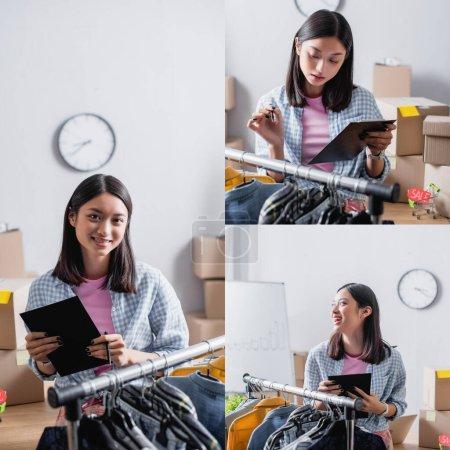 Photo pour Collage de bénévole asiatique souriant avec presse-papiers regardant la caméra et riant tout en se tenant près du rack suspendu avec des vêtements - image libre de droit
