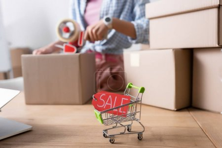 Photo for Close up view of price tag with sale lettering in shopping cart on desk near carton boxes with blurred woman on background - Royalty Free Image