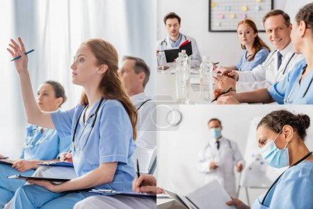 Photo for Collage of multiethnic doctors in medical masks working with clipboards and paper folder in clinic - Royalty Free Image