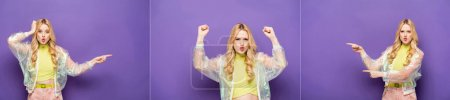 Photo for Collage of emotional blonde young woman in colorful outfit pointing with fingers on purple background, banner - Royalty Free Image