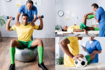 Photo pour Collage de sportif afro-américain faisant de l'exercice sur tapis de fitness près du médecin en clinique - image libre de droit
